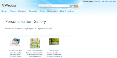 windows 7 personalization gallery