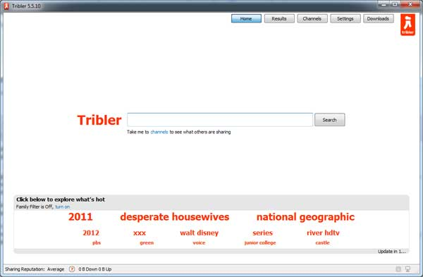 หน้าจอโปรแกรม Tribler