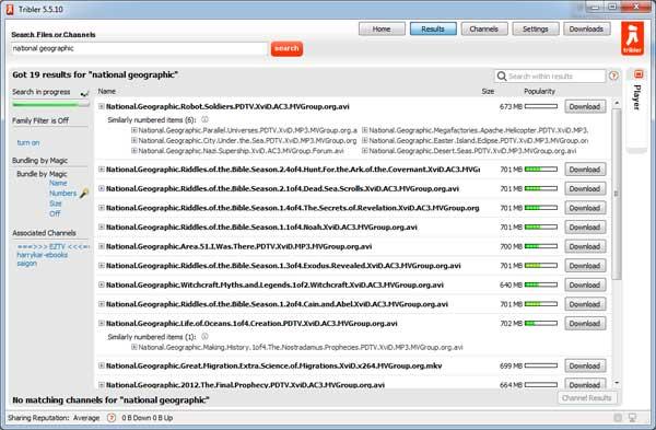 ผลการค้นหา Torrent จากโปรแกรม Tribler