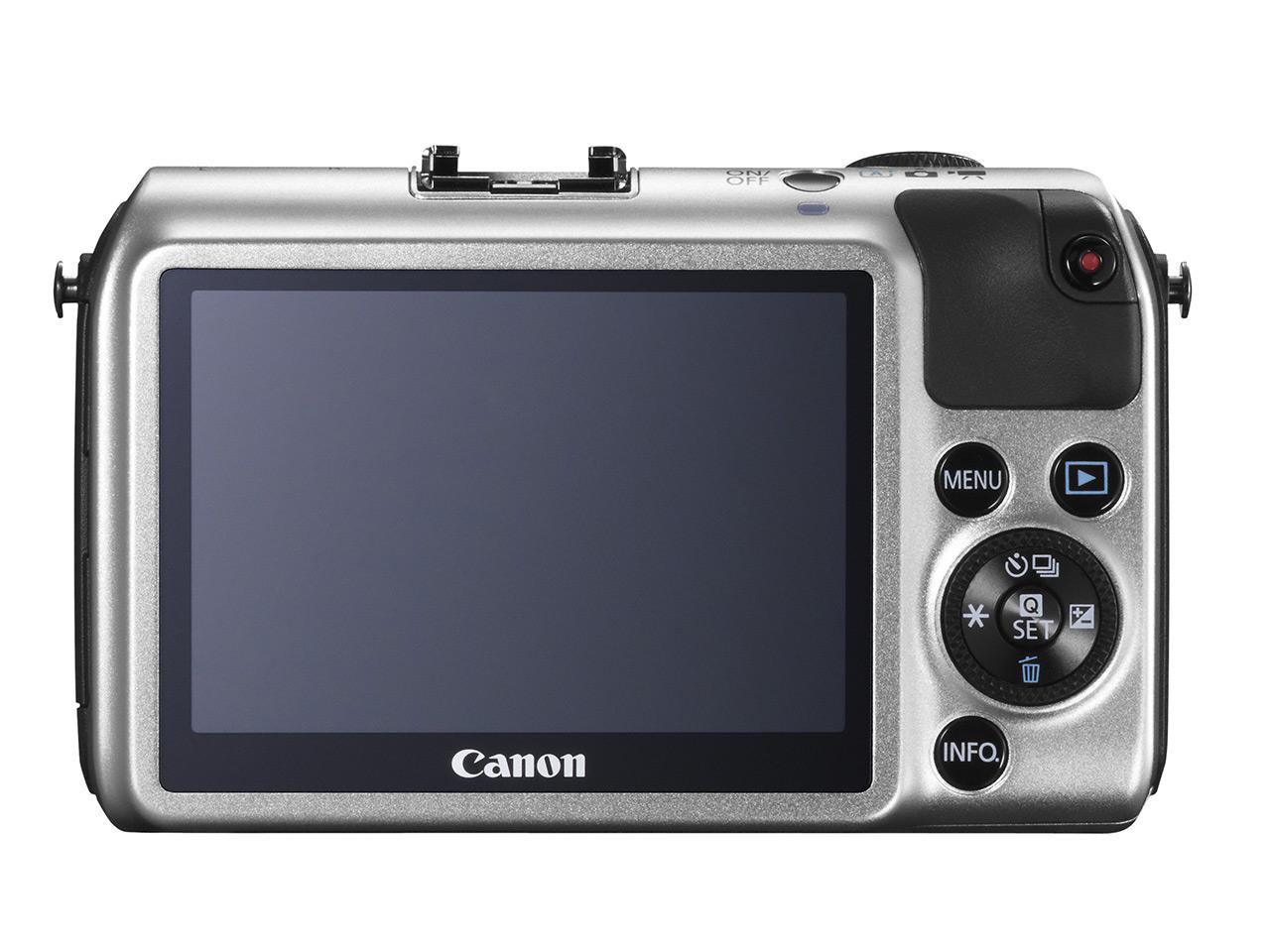 Canon EOS-M ด้านหลัง แสดงจอภาพและแผงควบคุม