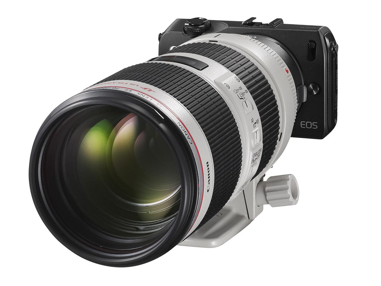 Canon EOS-M พร้อมเลนส์ 70-200 f/2.8 L IS แบบจัดเต็ม ต่อผ่าน EF-EOS M mount adapter (ขายแยก)