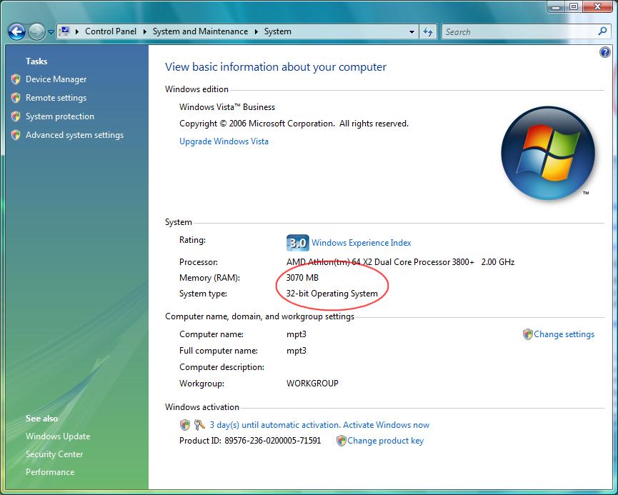 ปัญหาของคนมีแรม 4GB หรือมากกว่านั้นบน Windows 32 bit